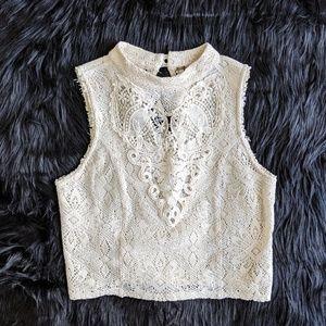 Free People White Lace Croptop size XS